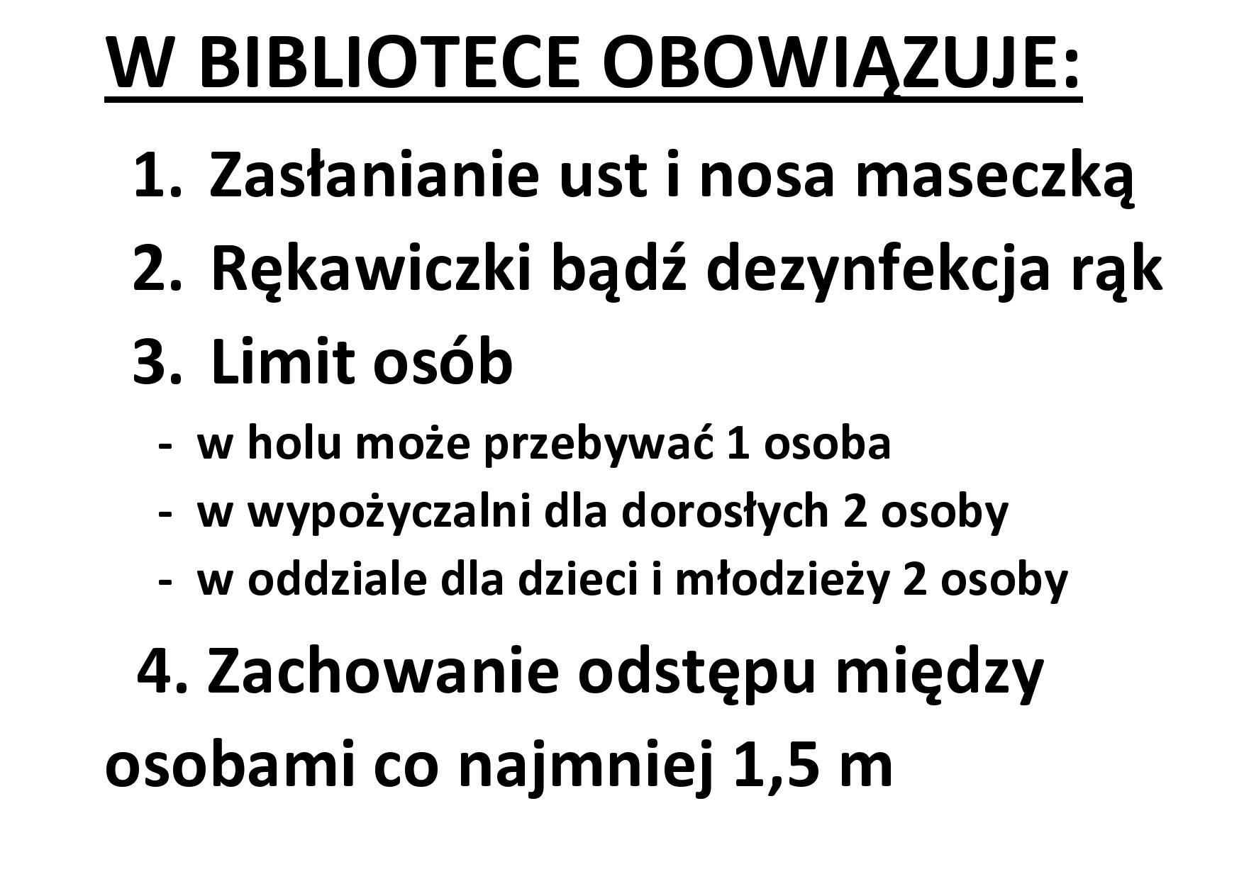 Zasady obowiązujące w bibliotece od 10 maja