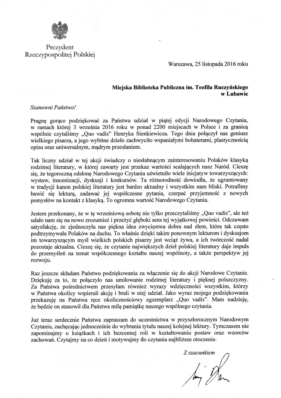 Podziekowanie Prezydenta Rzeczpospolitej Polskiej za udział w Narodwym Czytaniu